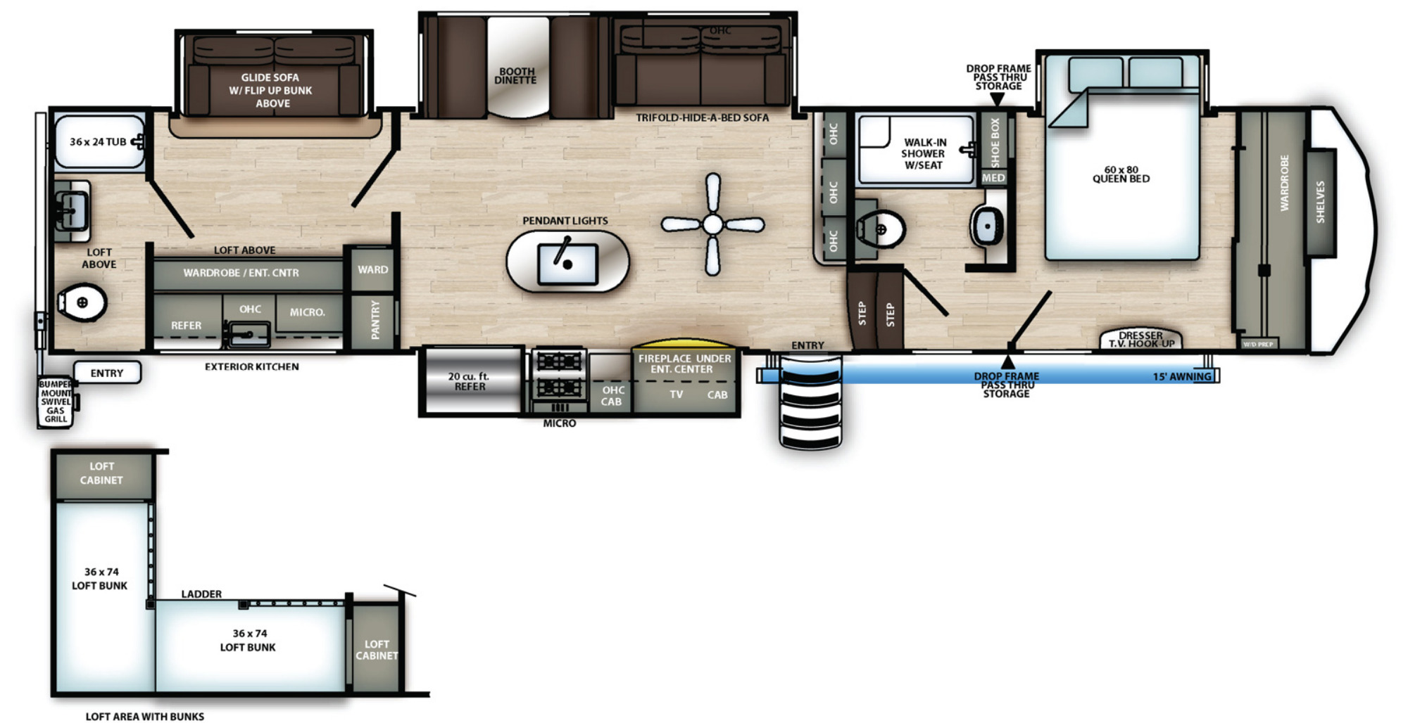 View Floor Plan for 2021 FOREST RIVER SANDPIPER 383RBLOK