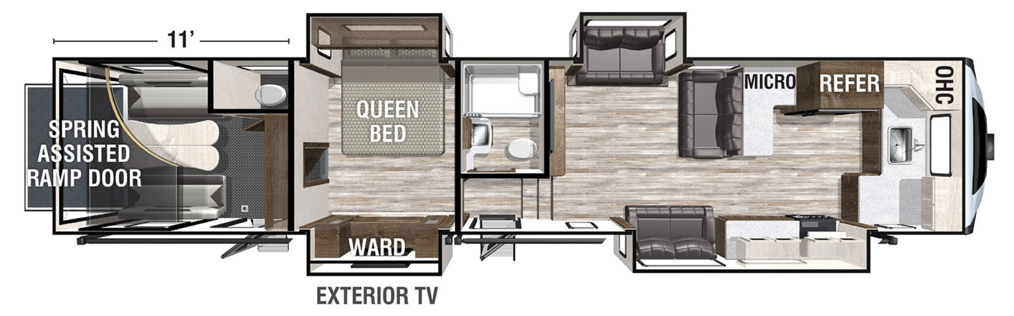 View Floor Plan for 2021 FOREST RIVER XLR NITRO 405