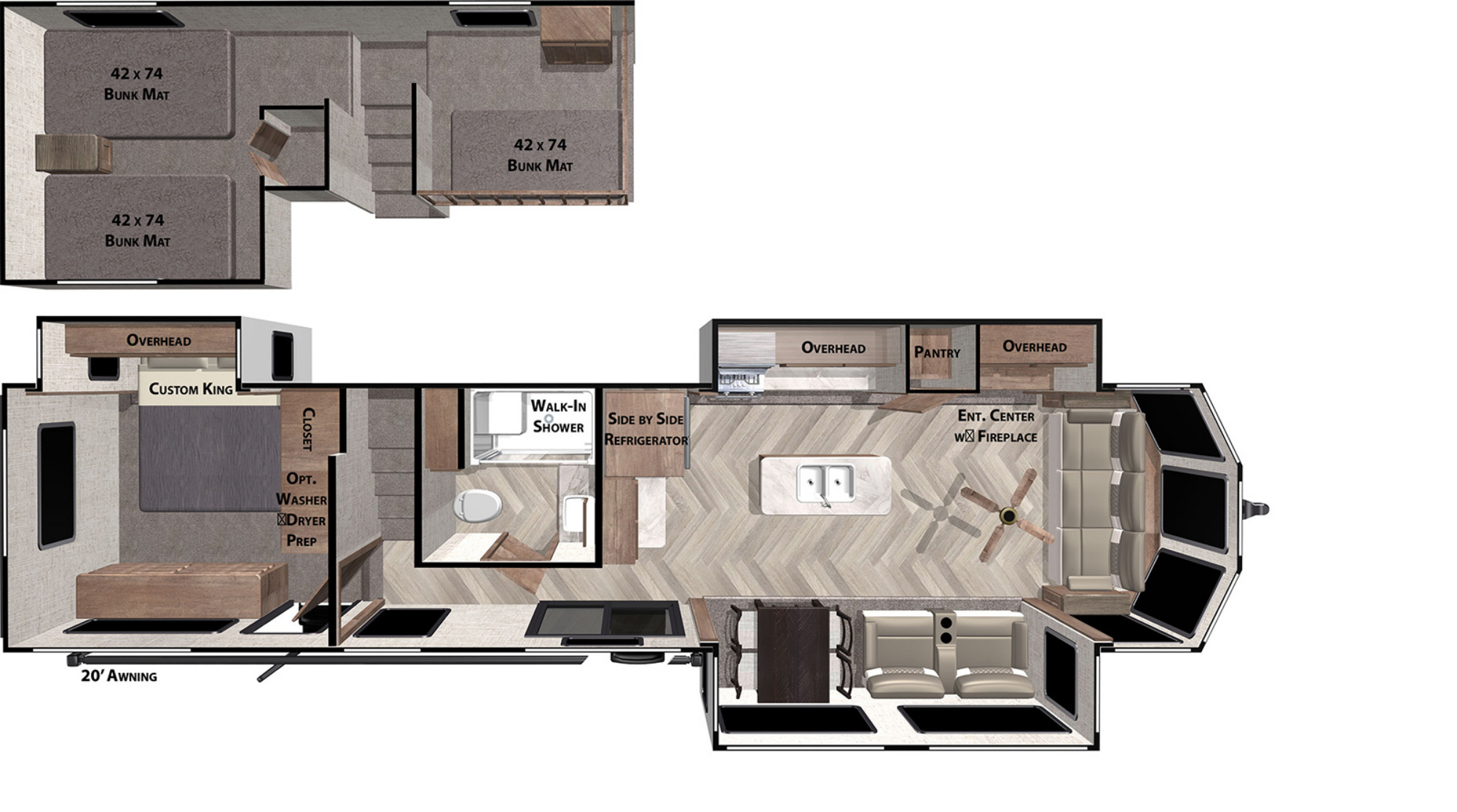 View Floor Plan for 2021 FOREST RIVER WILDWOOD GRAND LODGE 42FLDL