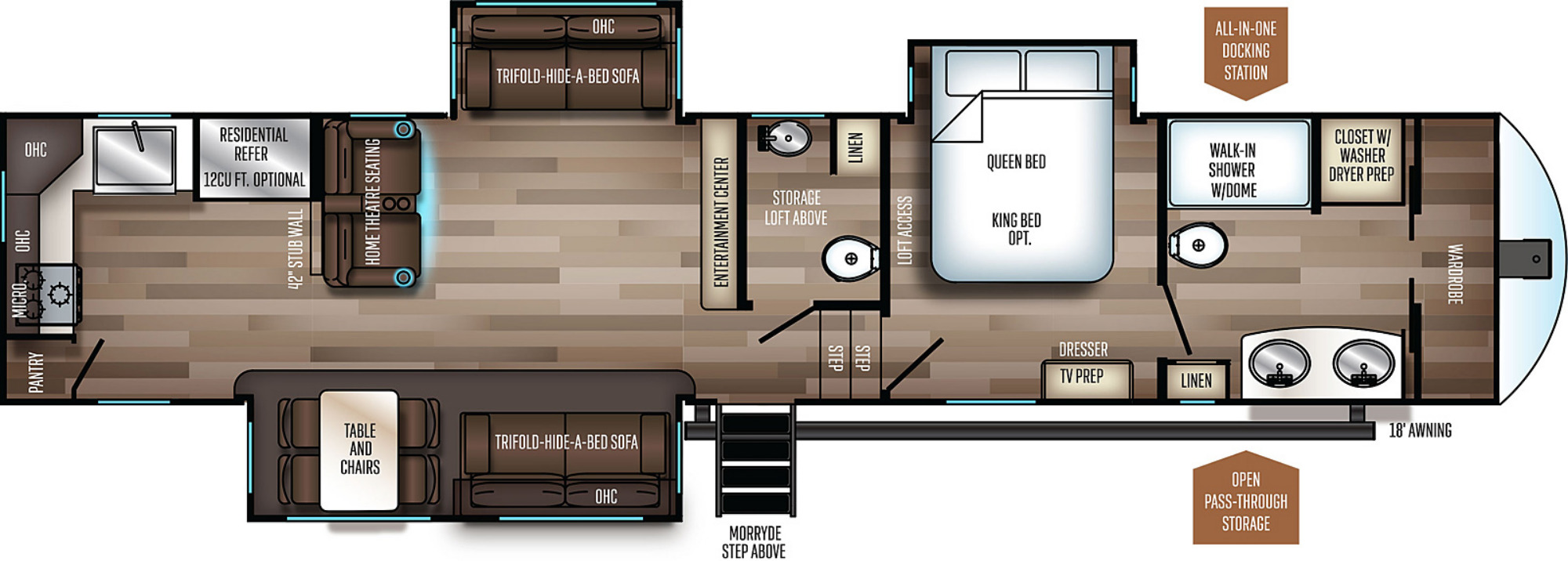 View Floor Plan for 2021 FOREST RIVER SABRE 37FBT