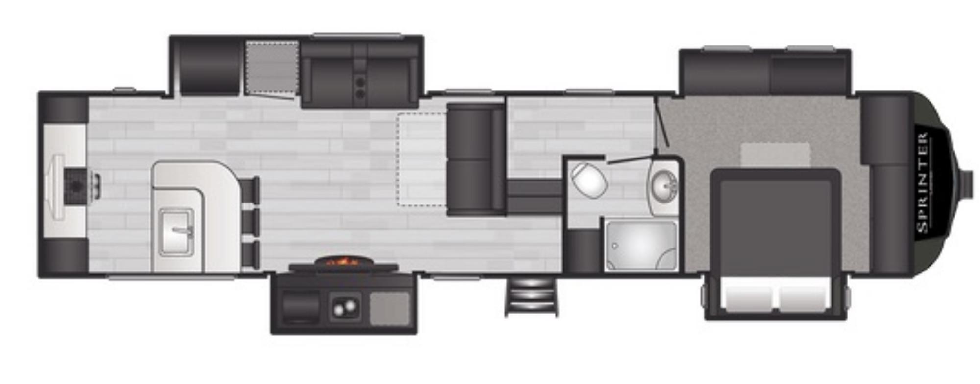 View Floor Plan for 2021 KEYSTONE SPRINTER LIMITED 3550FWMLS
