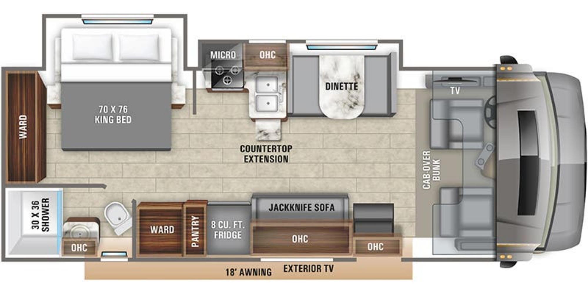 View Floor Plan for 2021 ENTEGRA COACH ESTEEM 27U