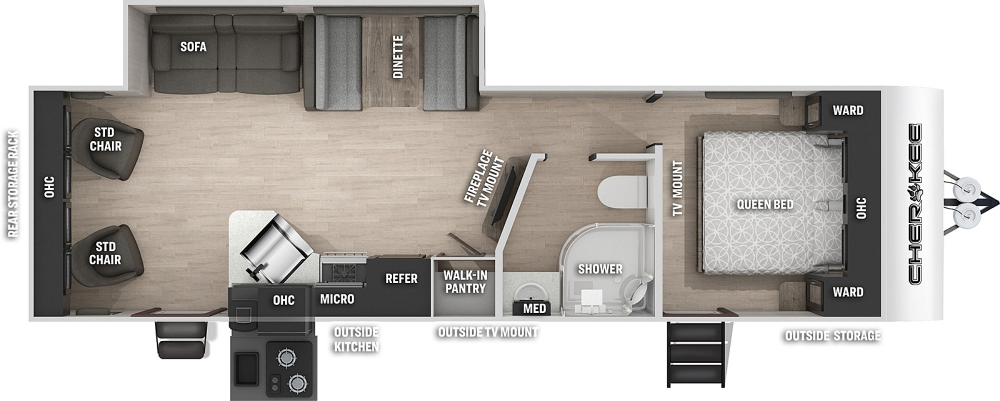 View Floor Plan for 2021 FOREST RIVER CHEROKEE 264RLW