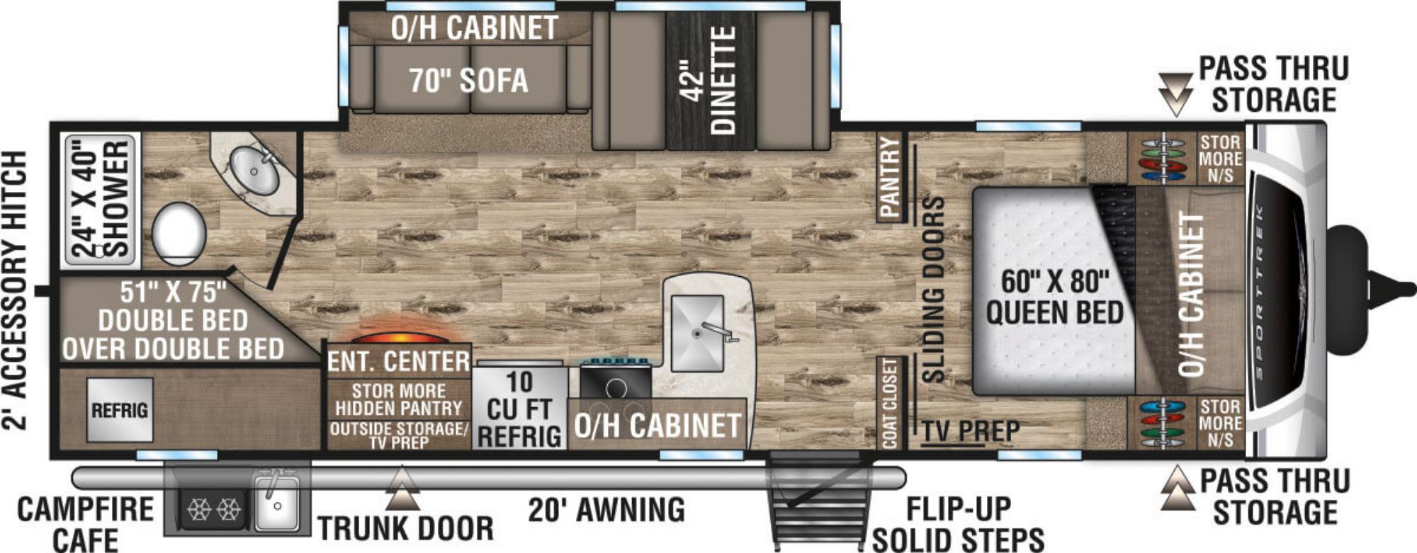 View Floor Plan for 2021 VENTURE RV SPORTTREK 281VBH