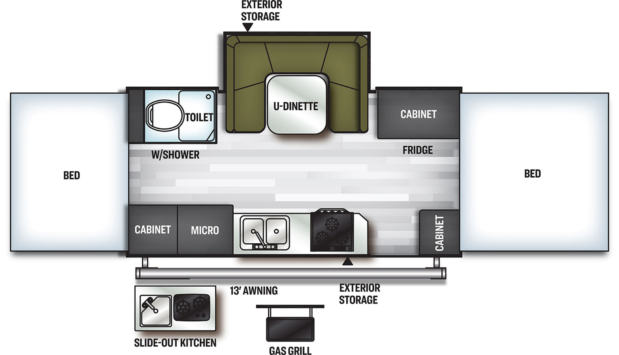 View Floor Plan for 2021 FOREST RIVER FLAGSTAFF HIGH WALL HW27KS