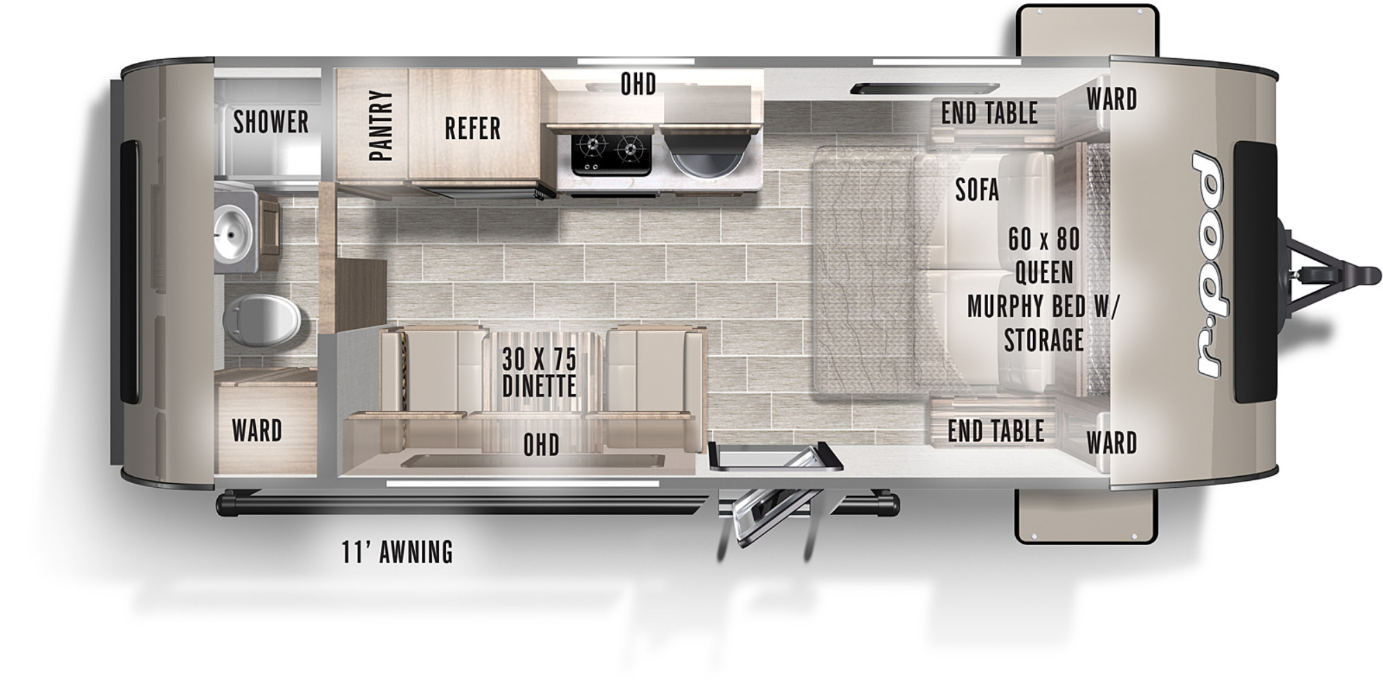 View Floor Plan for 2021 FOREST RIVER R-POD 192