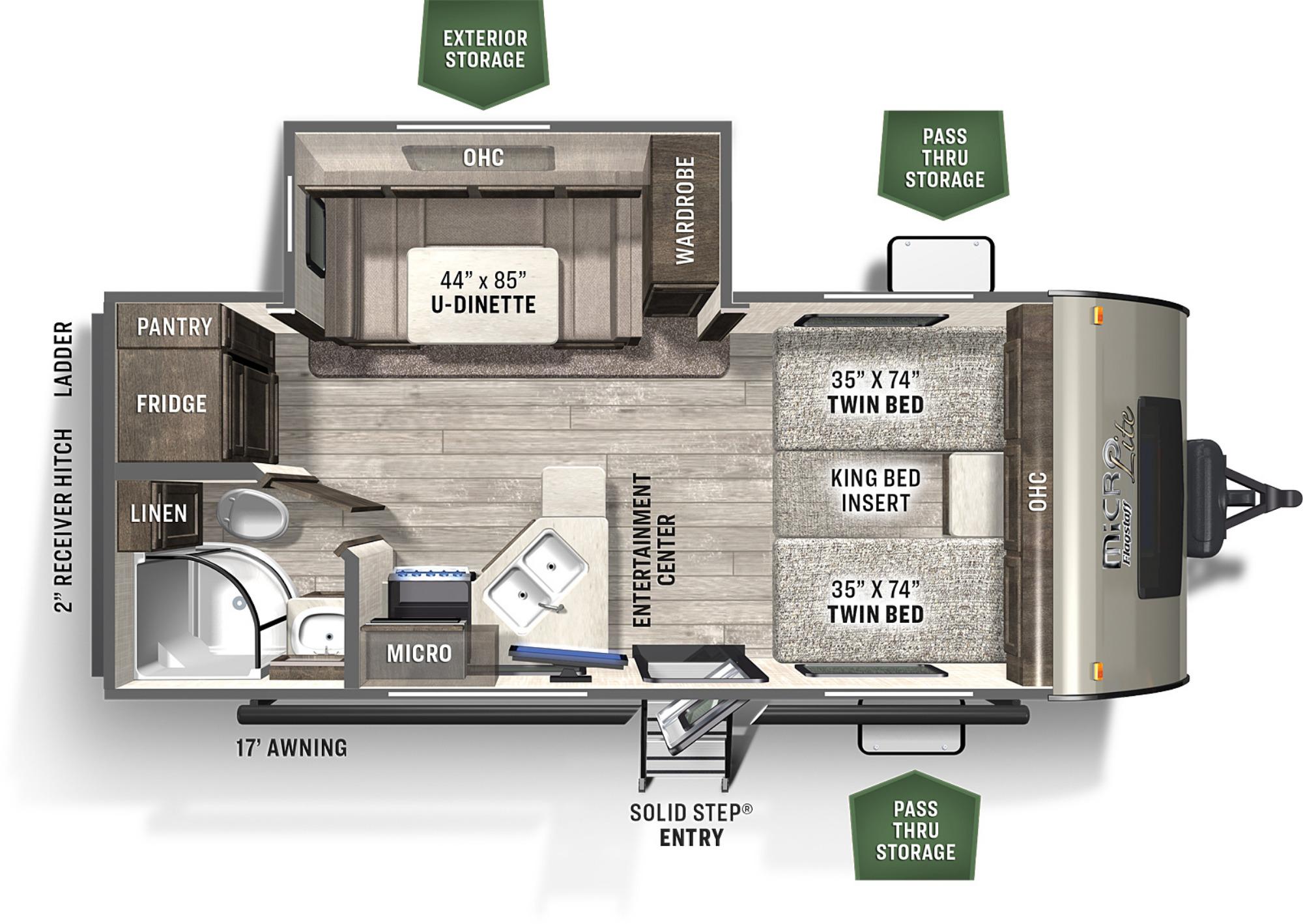 View Floor Plan for 2021 FOREST RIVER ROCKWOOD MINI LITE 2204S