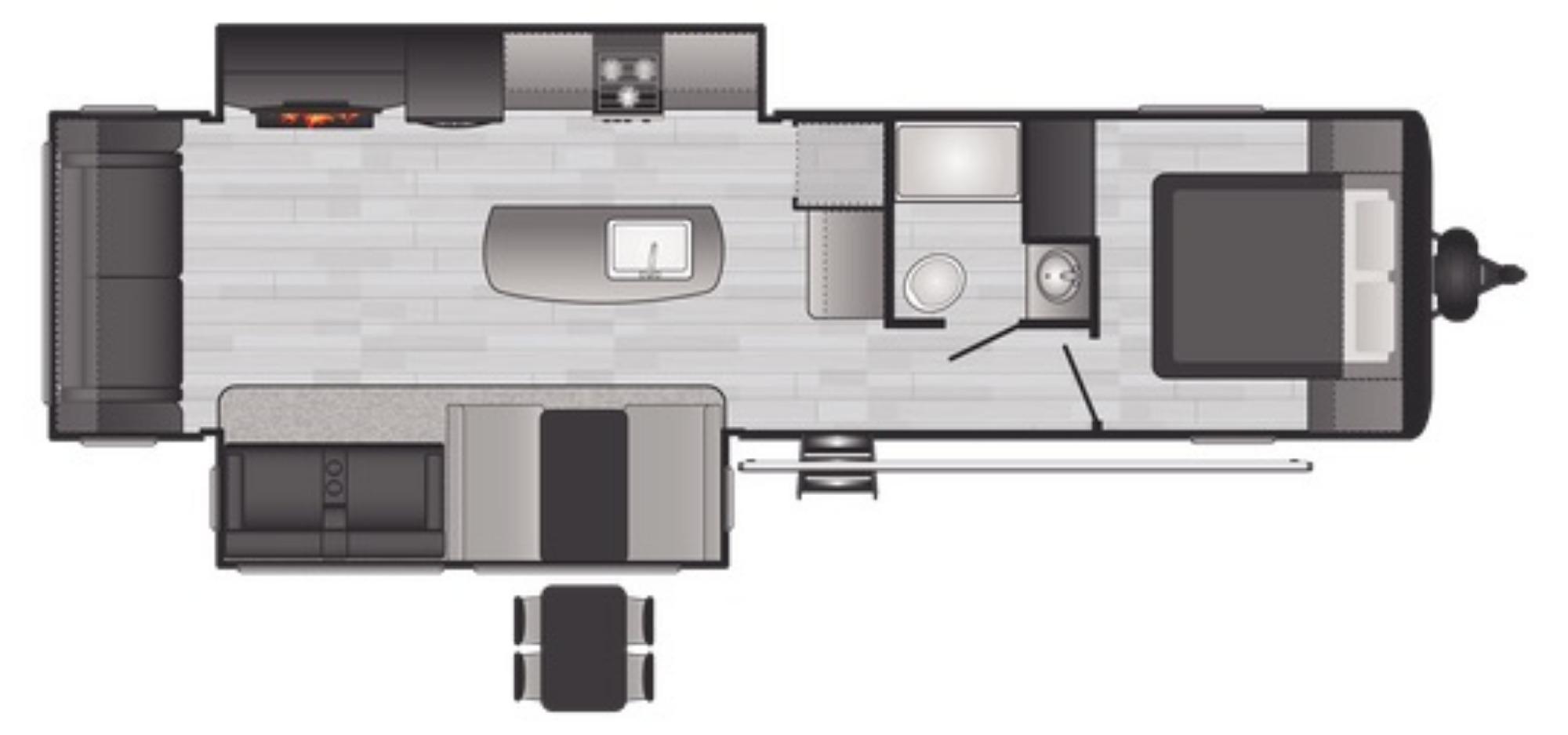 View Floor Plan for 2021 KEYSTONE HIDEOUT 30RLDS
