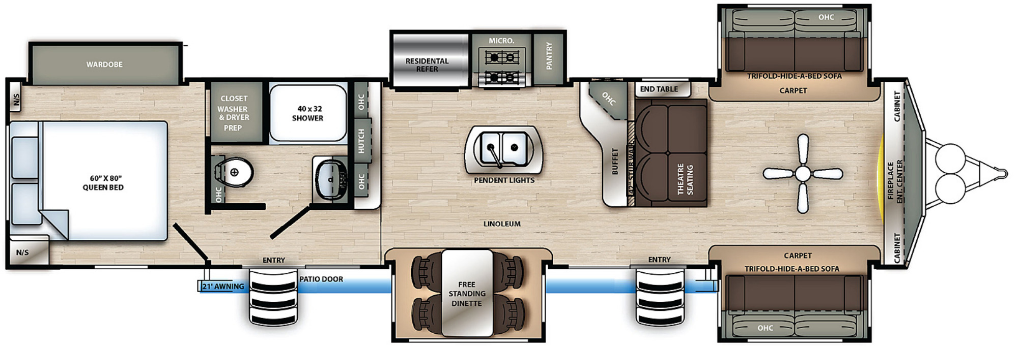 View Floor Plan for 2021 FOREST RIVER SANDPIPER 420FL