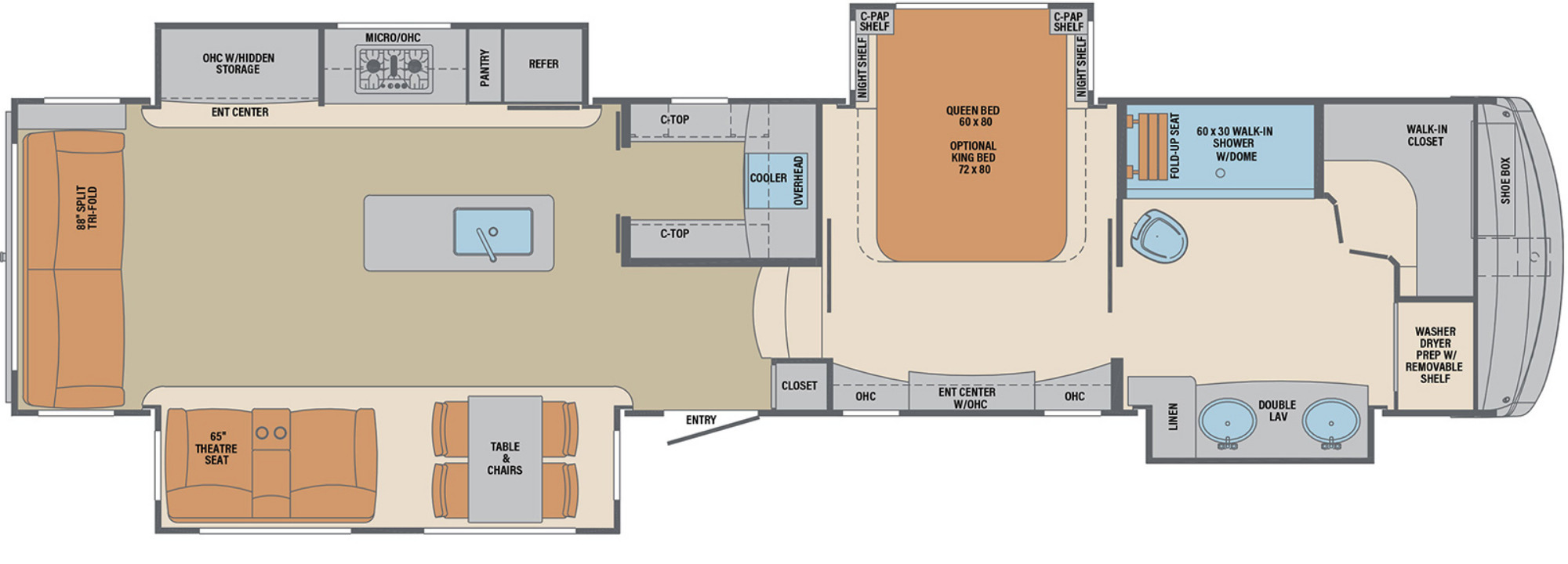 View Floor Plan for 2021 FOREST RIVER COLUMBUS 382FB