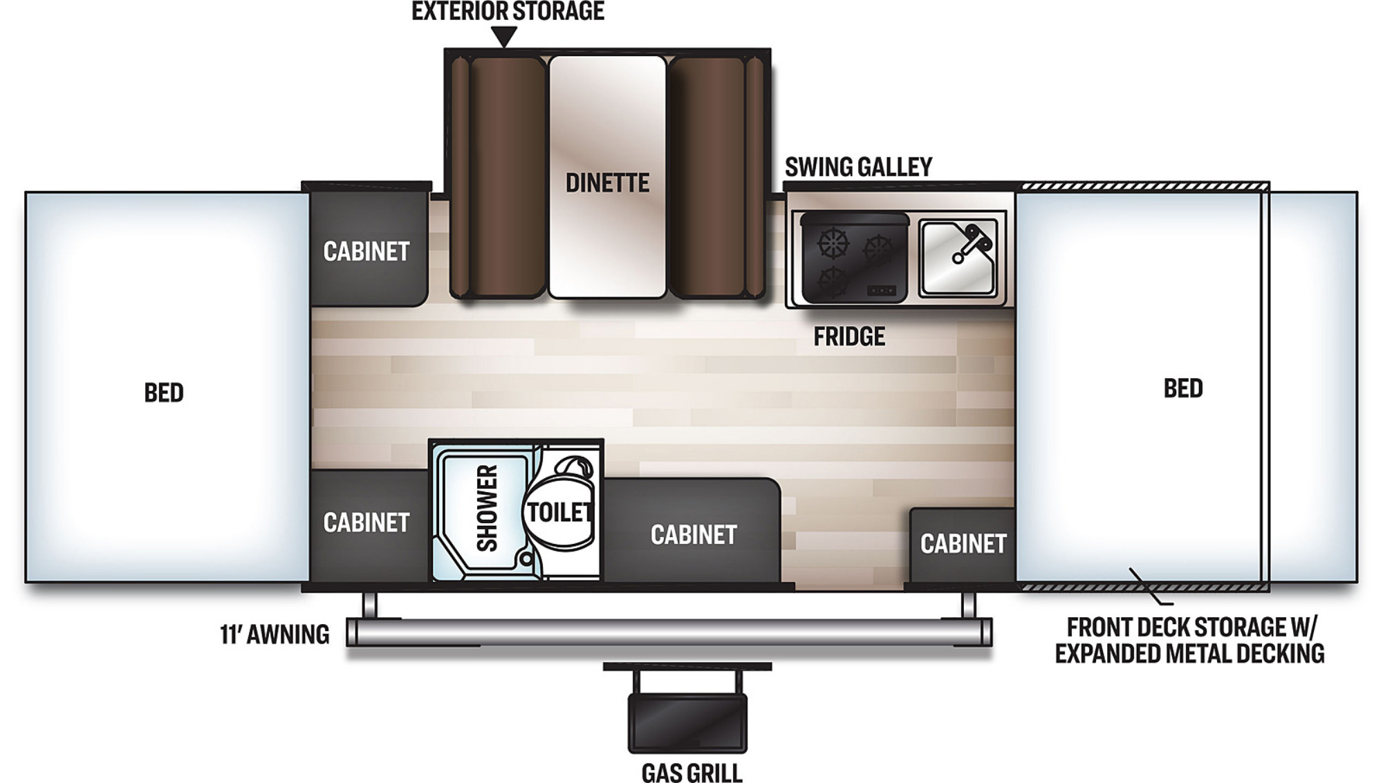 View Floor Plan for 2021 FOREST RIVER ROCKWOOD ESP 232ESP
