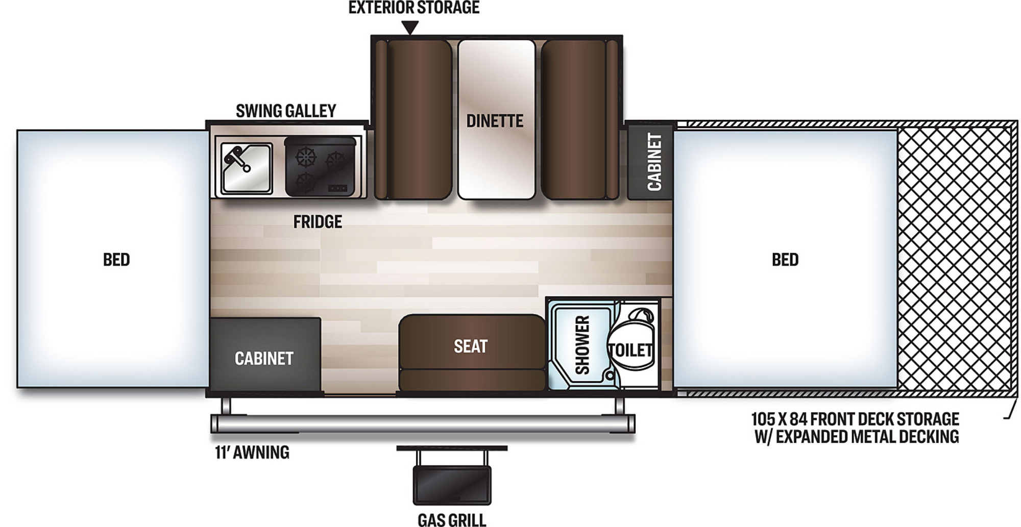 View Floor Plan for 2021 FOREST RIVER ROCKWOOD ESP 282TESP