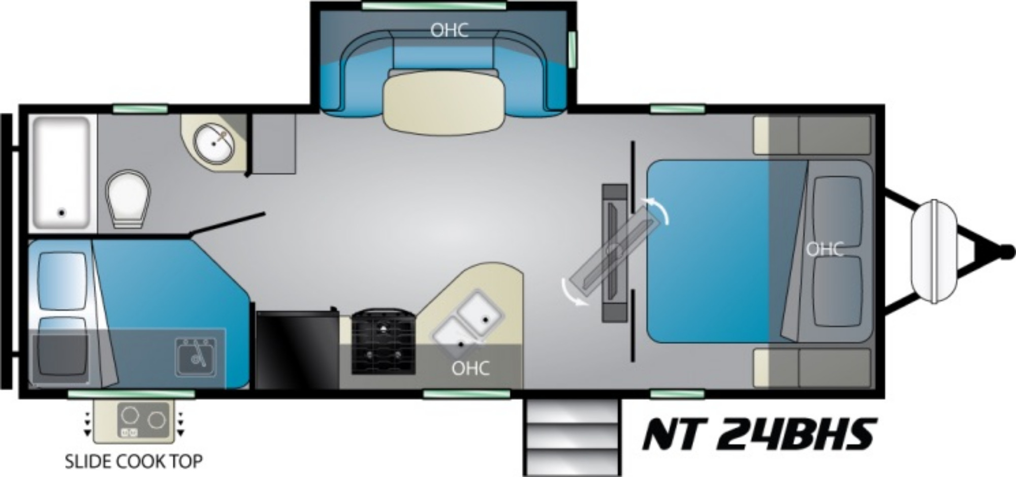 View Floor Plan for 2021 HEARTLAND NORTH TRAIL 24BHS