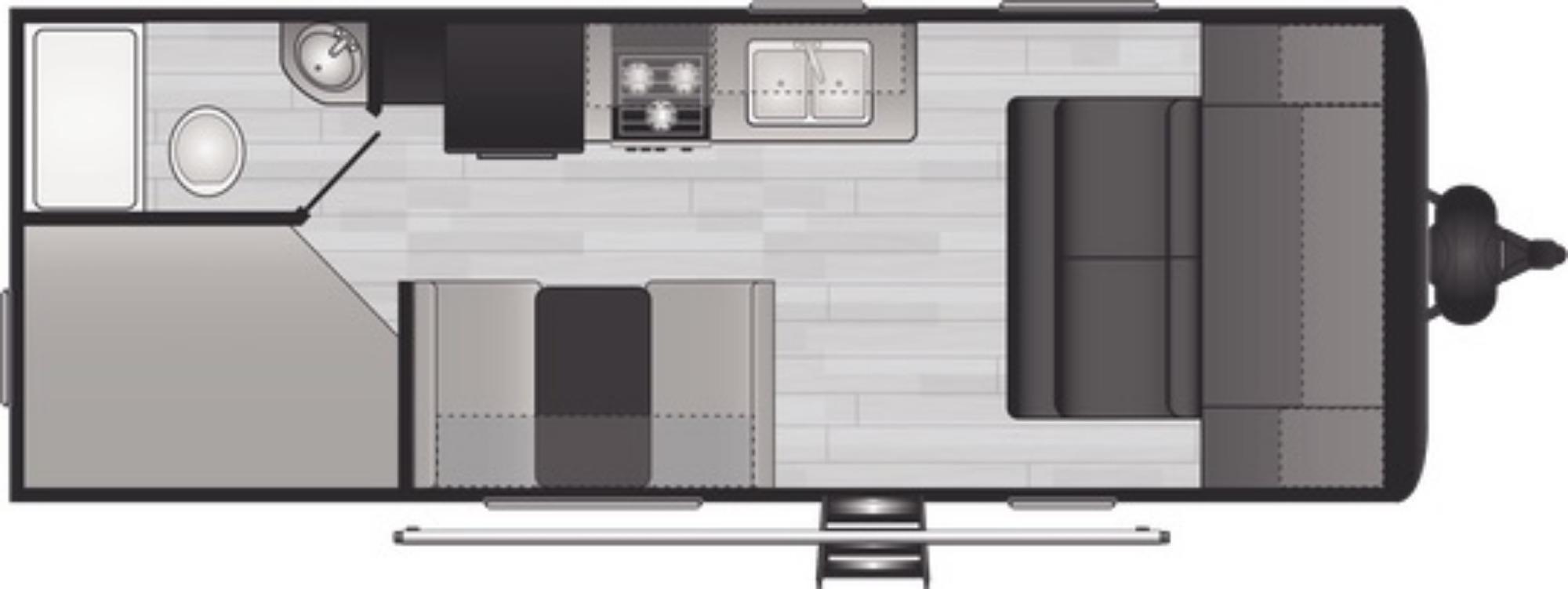 View Floor Plan for 2021 KEYSTONE HIDEOUT 21BHWE