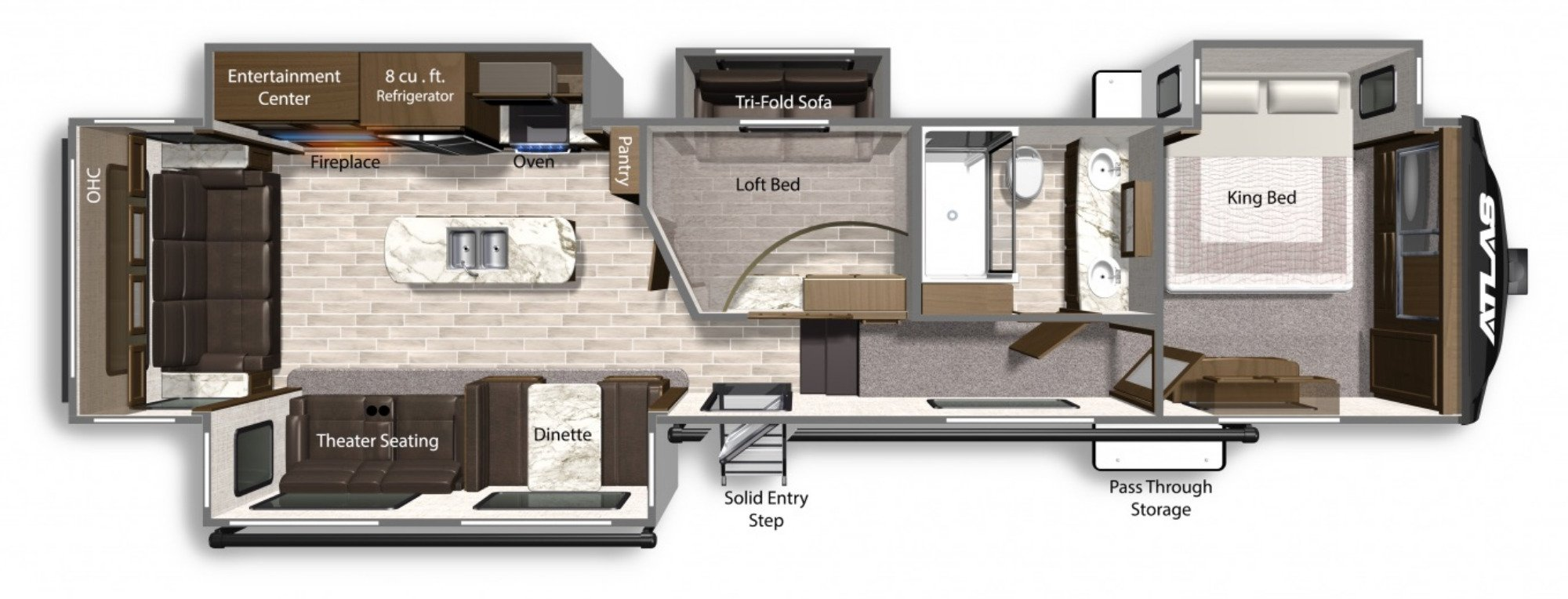 View Floor Plan for 2021 DUTCHMEN ATLAS 3552MBKB