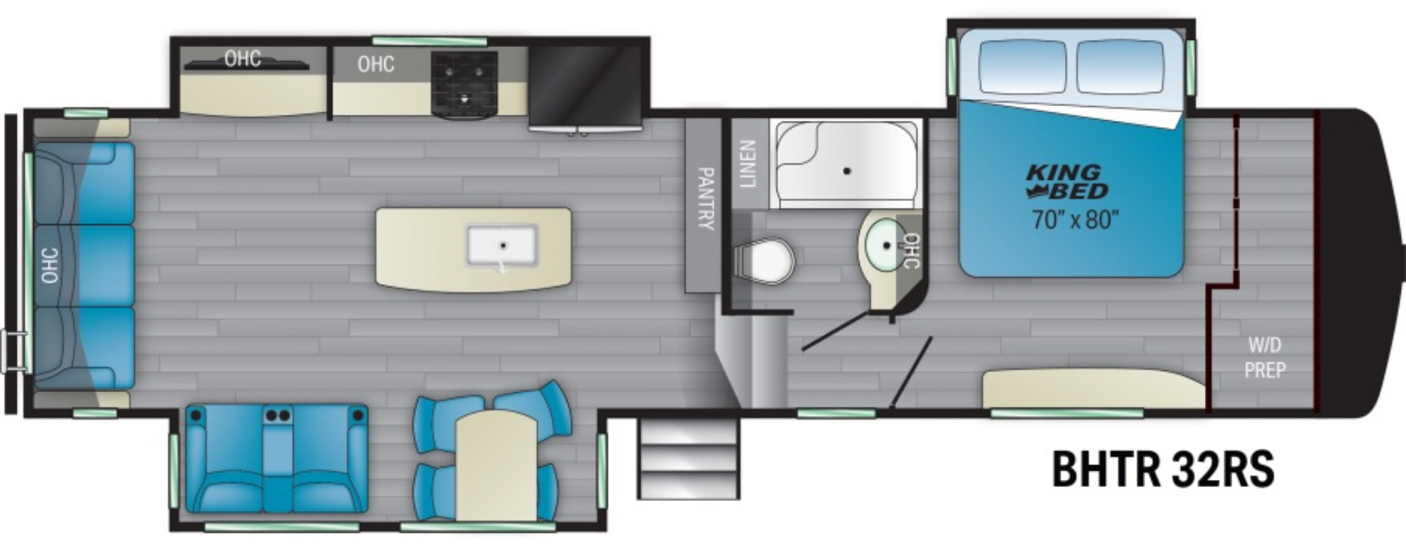 View Floor Plan for 2021 HEARTLAND BIGHORN TRAVELER 32RS