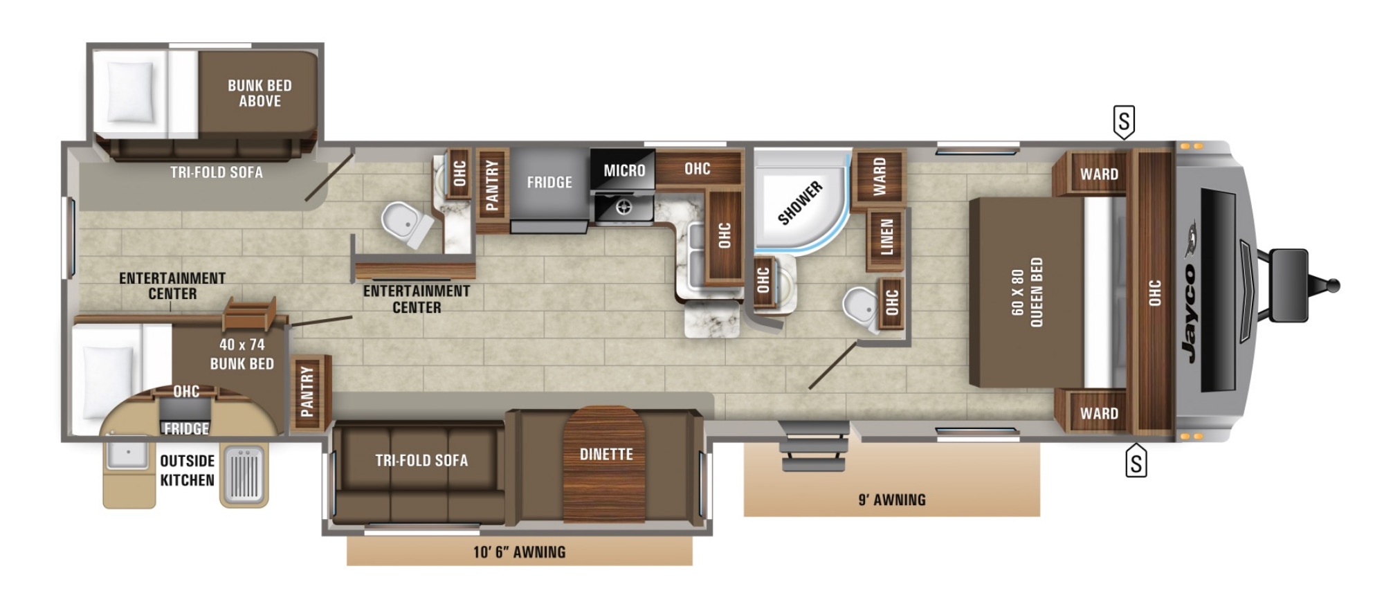 View Floor Plan for 2021 JAYCO WHITE HAWK 32BH