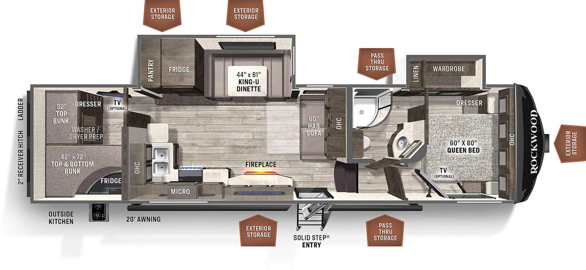 View Floor Plan for 2021 FOREST RIVER ROCKWOOD ULTRA LITE 2891BH