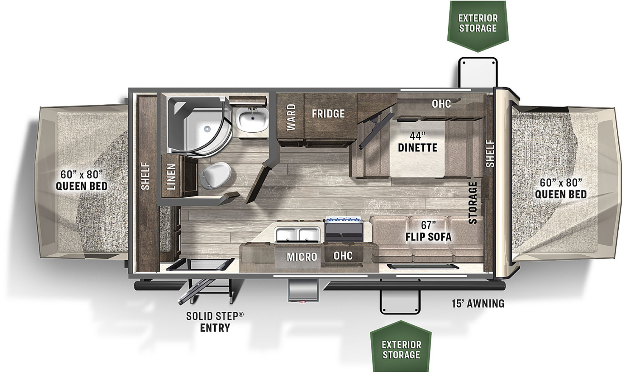 View Floor Plan for 2021 FOREST RIVER FLAGSTAFF SHAMROCK 19