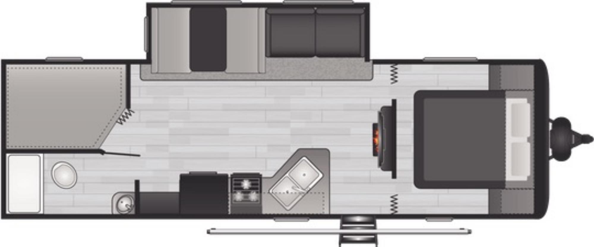 View Floor Plan for 2021 KEYSTONE HIDEOUT 26BHWE