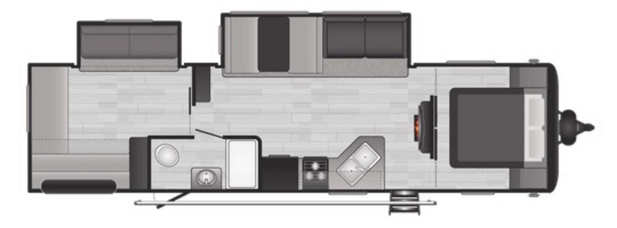 View Floor Plan for 2021 KEYSTONE HIDEOUT 318BR