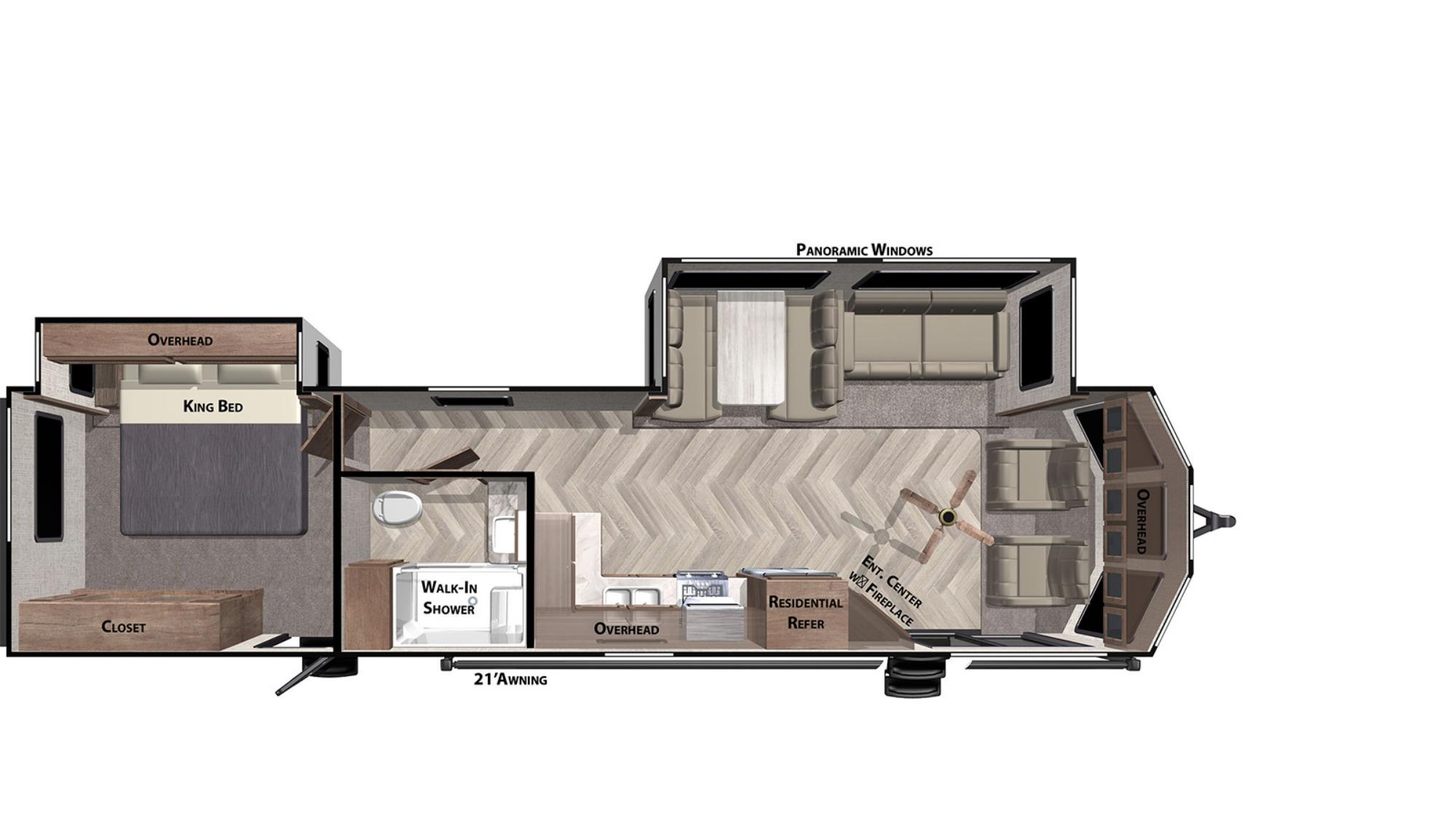 View Floor Plan for 2021 FOREST RIVER SALEM VILLA CLASSIC 353FLFB