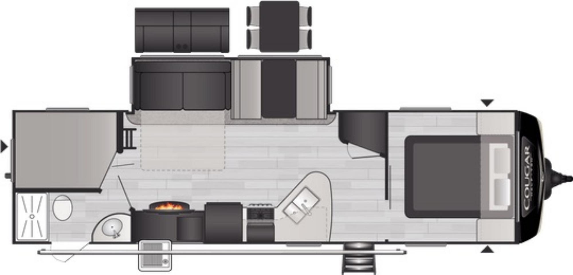 View Floor Plan for 2021 KEYSTONE COUGAR 29BHSWE