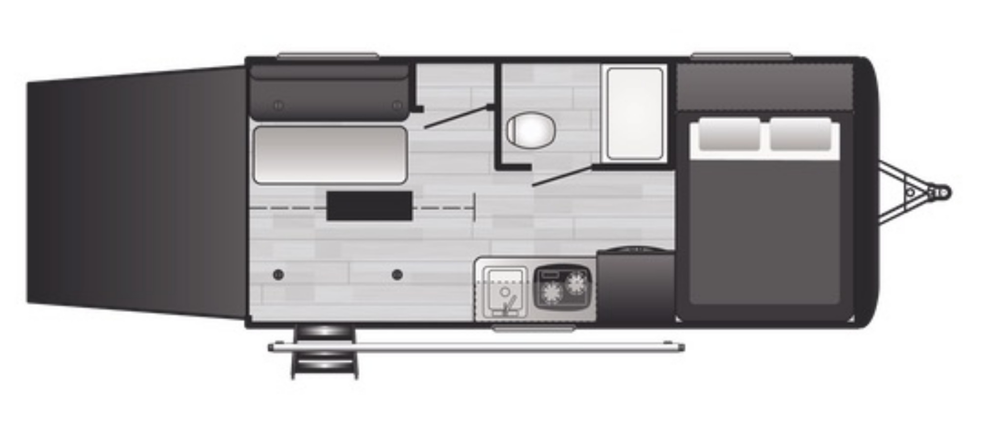 View Floor Plan for 2021 KEYSTONE HIDEOUT 172TX
