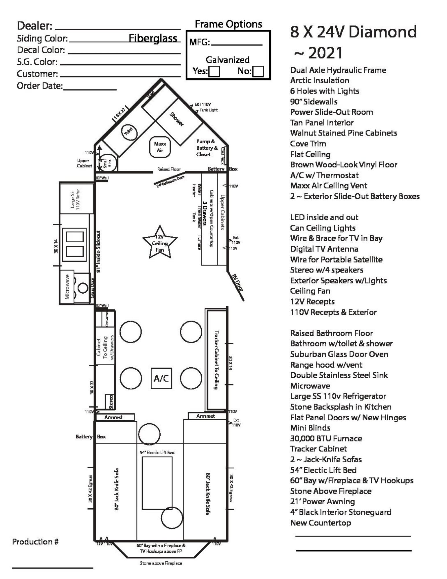 View Floor Plan for 2021 AMERICAN SURPLUS ICE CASTLE RV 8X24V DIAMOND