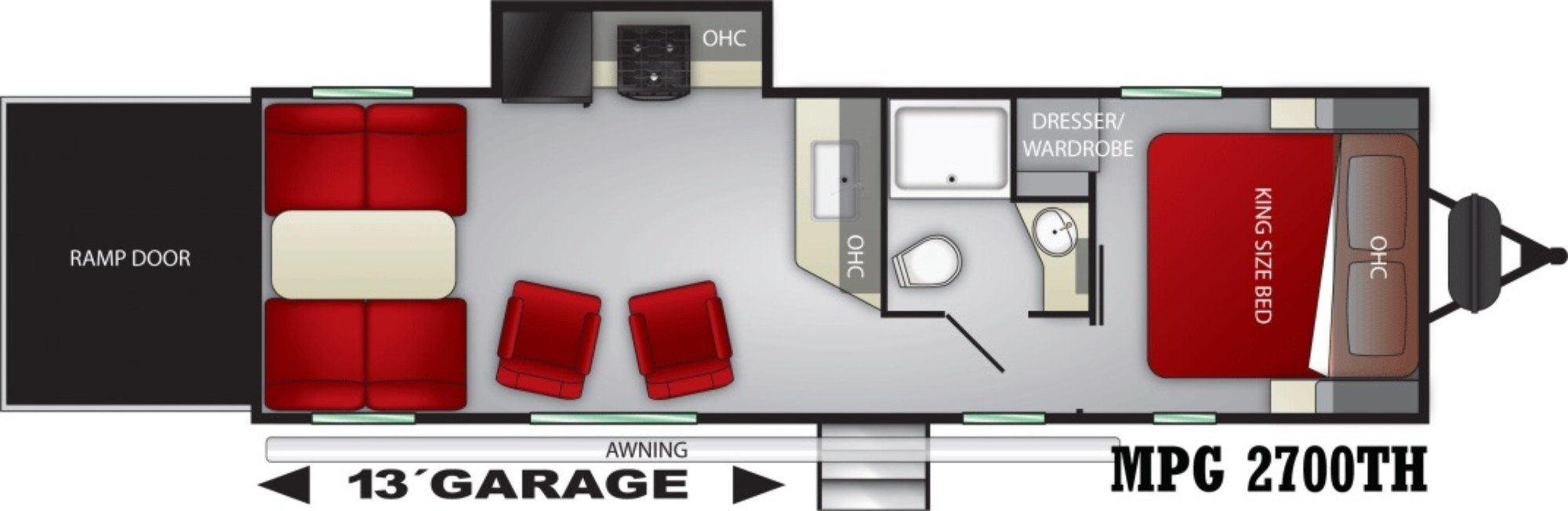 View Floor Plan for 2021 CRUISER RV MPG 2700TH