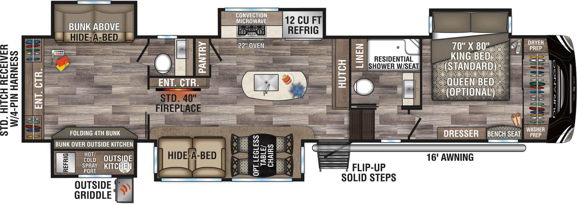 View Floor Plan for 2021 K-Z RV DURANGO 348BHF