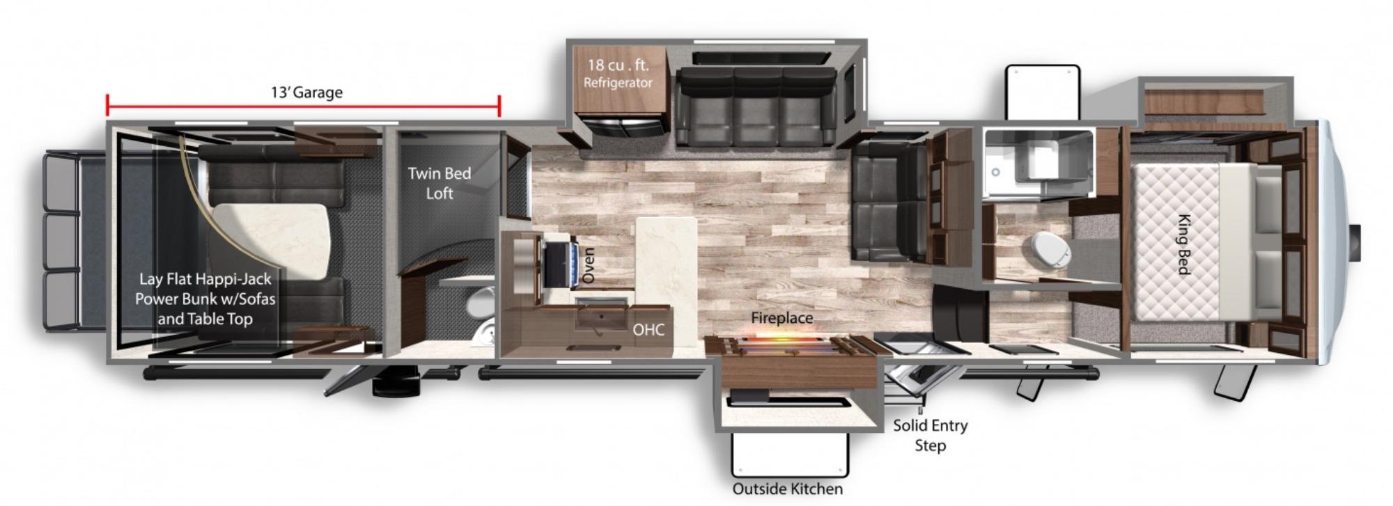 View Floor Plan for 2021 DUTCHMEN VOLTAGE 4145