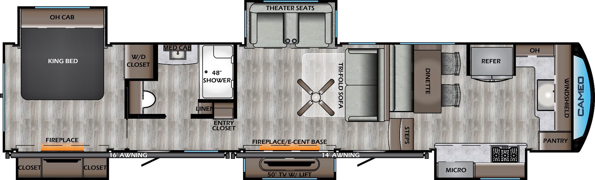 View Floor Plan for 2021 CROSSROADS CAMEO 4021FK