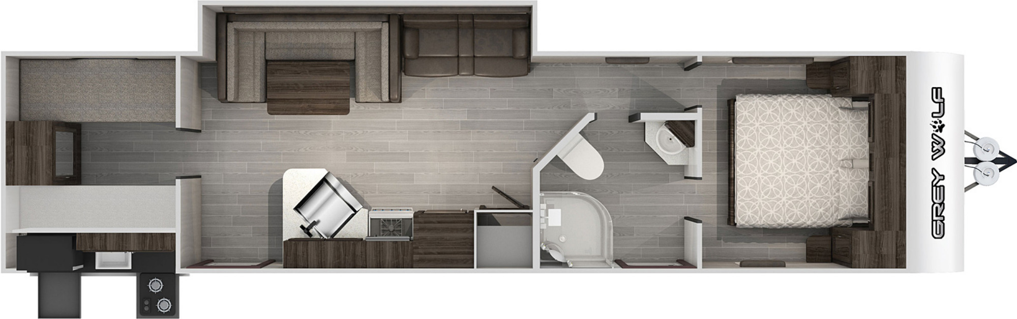 View Floor Plan for 2021 FOREST RIVER GREY WOLF 29TEW