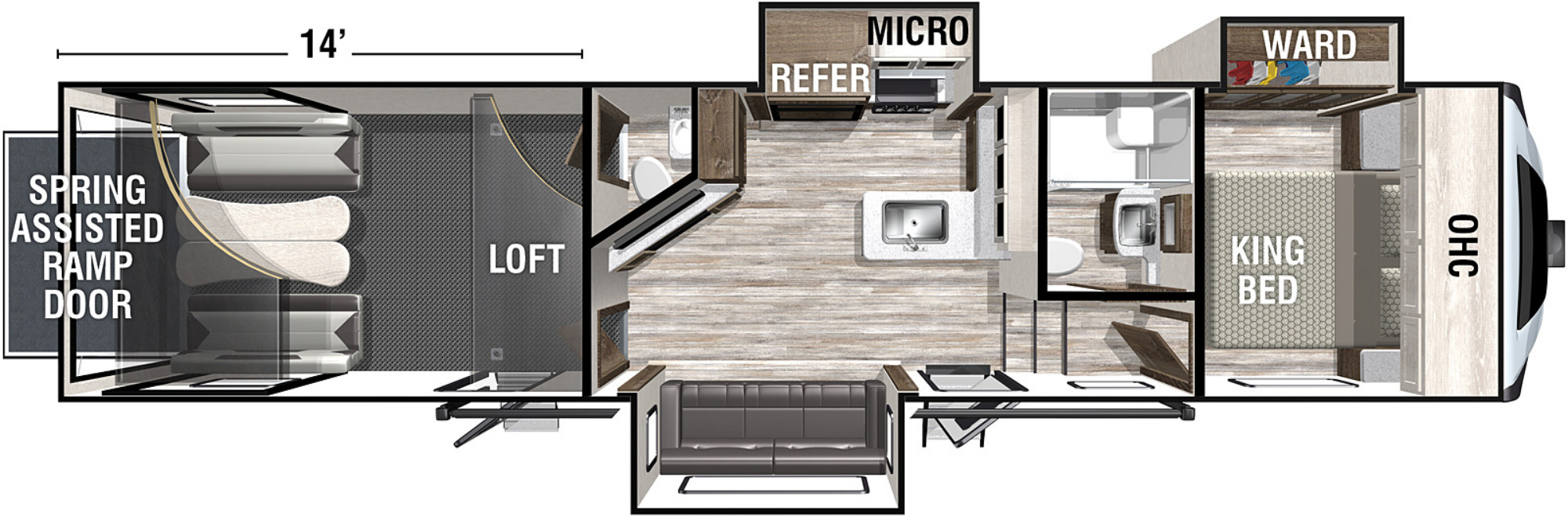 View Floor Plan for 2021 FOREST RIVER XLR NITRO 351