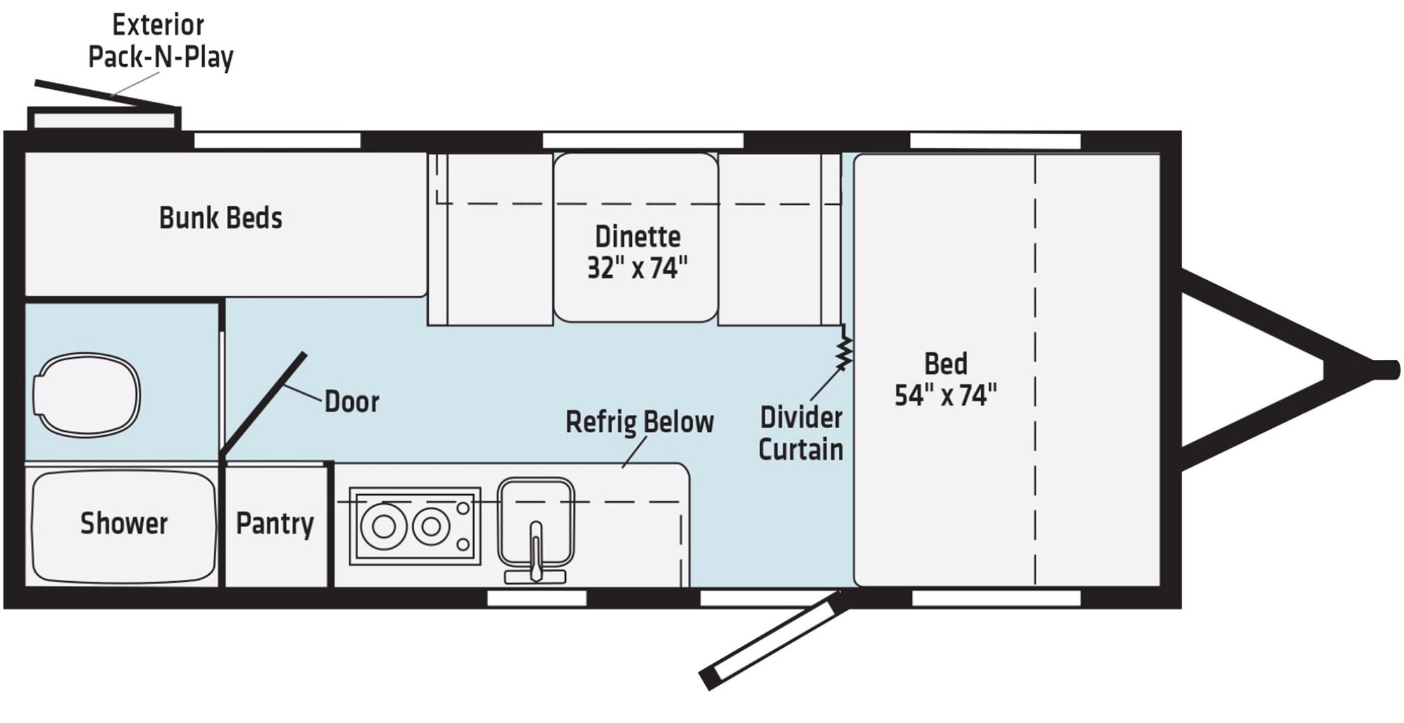 View Floor Plan for 2021 WINNEBAGO MICRO MINNIE 1700BH