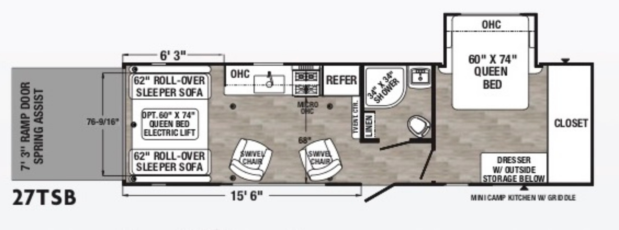 View Floor Plan for 2021 FOREST RIVER PUMA XLE 27TSB