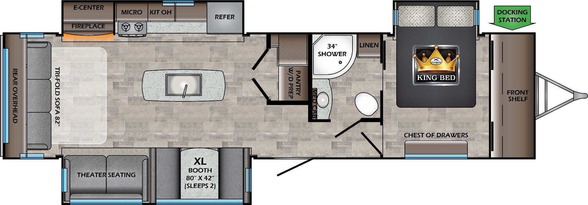 View Floor Plan for 2021 CROSSROADS SUNSET TRAIL 330SI