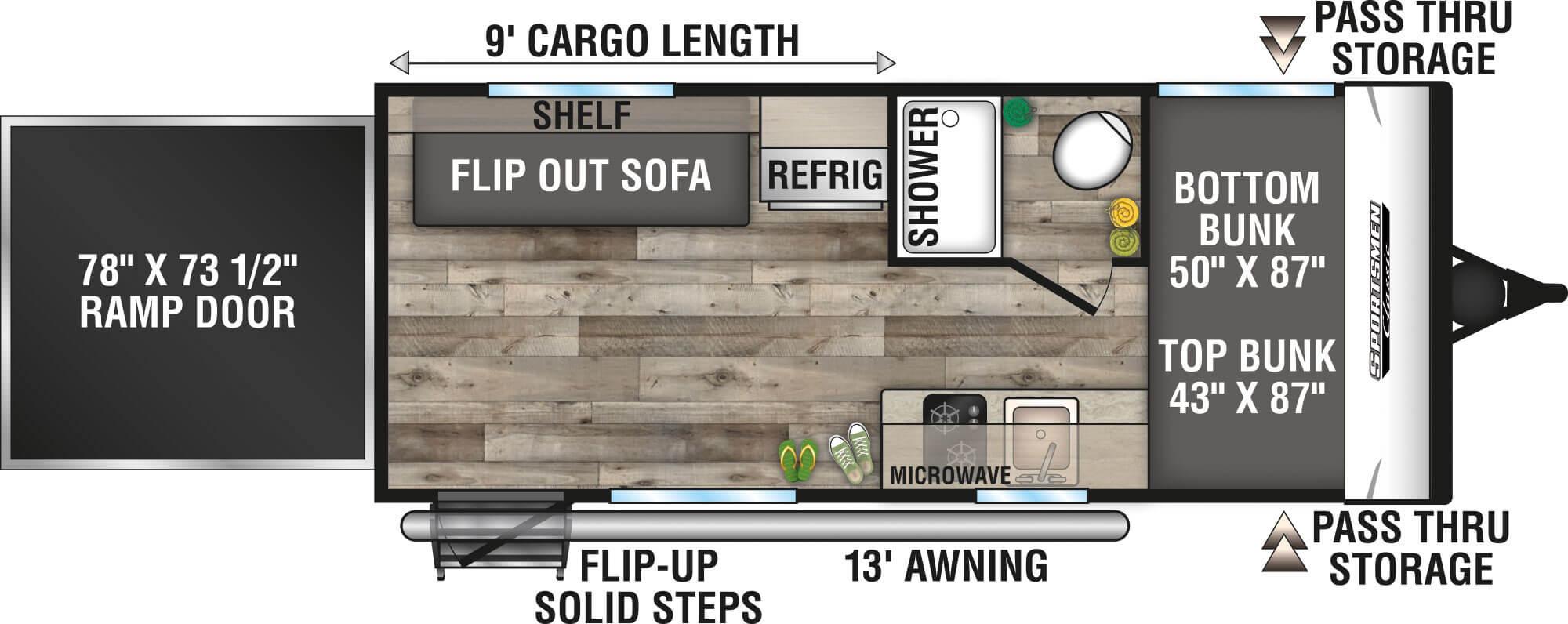 View Floor Plan for 2021 K-Z RV SPORTSMEN CLASSIC 180TH