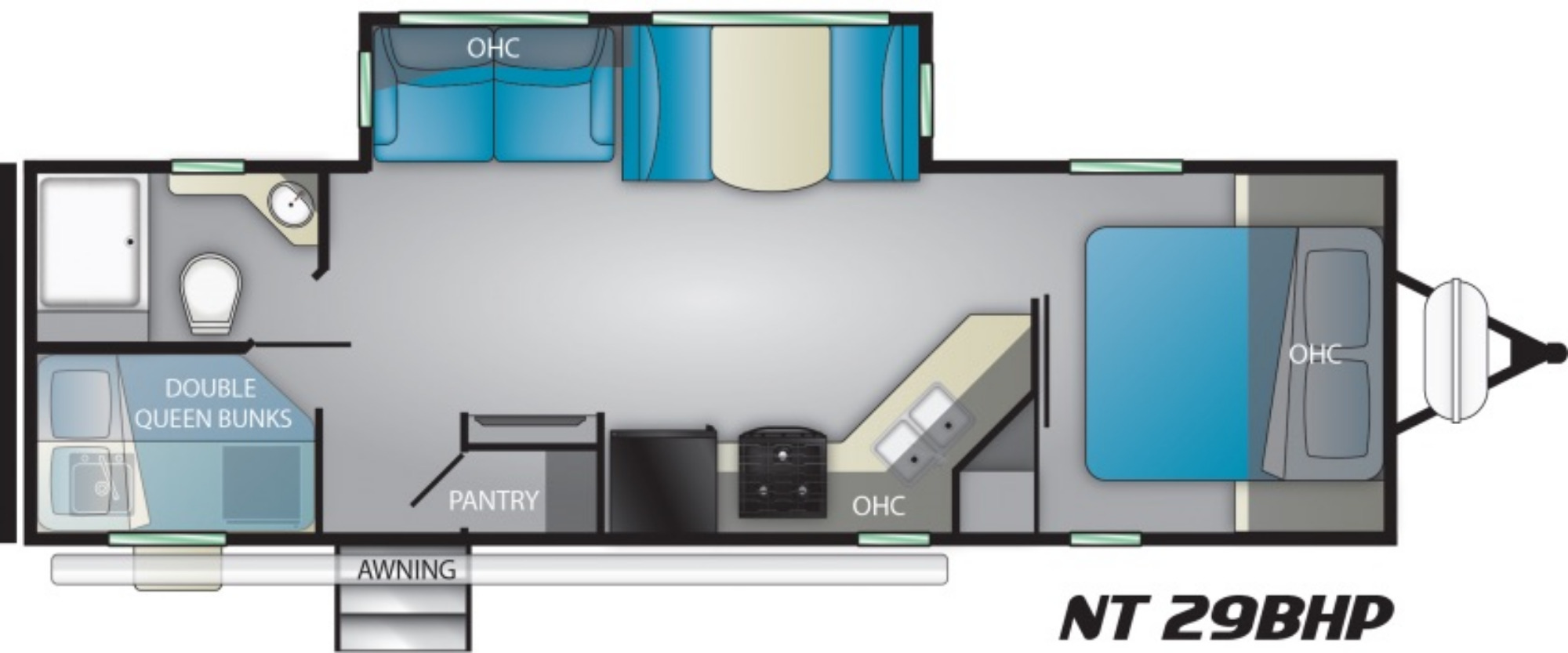 View Floor Plan for 2021 HEARTLAND NORTH TRAIL 29BHP