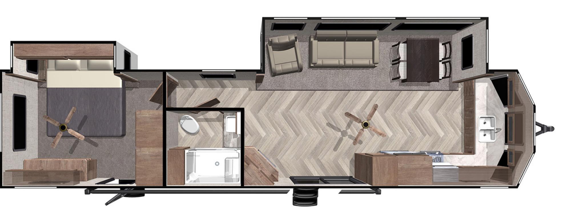 View Floor Plan for 2021 FOREST RIVER SALEM VILLA ESTATE 394FKDS