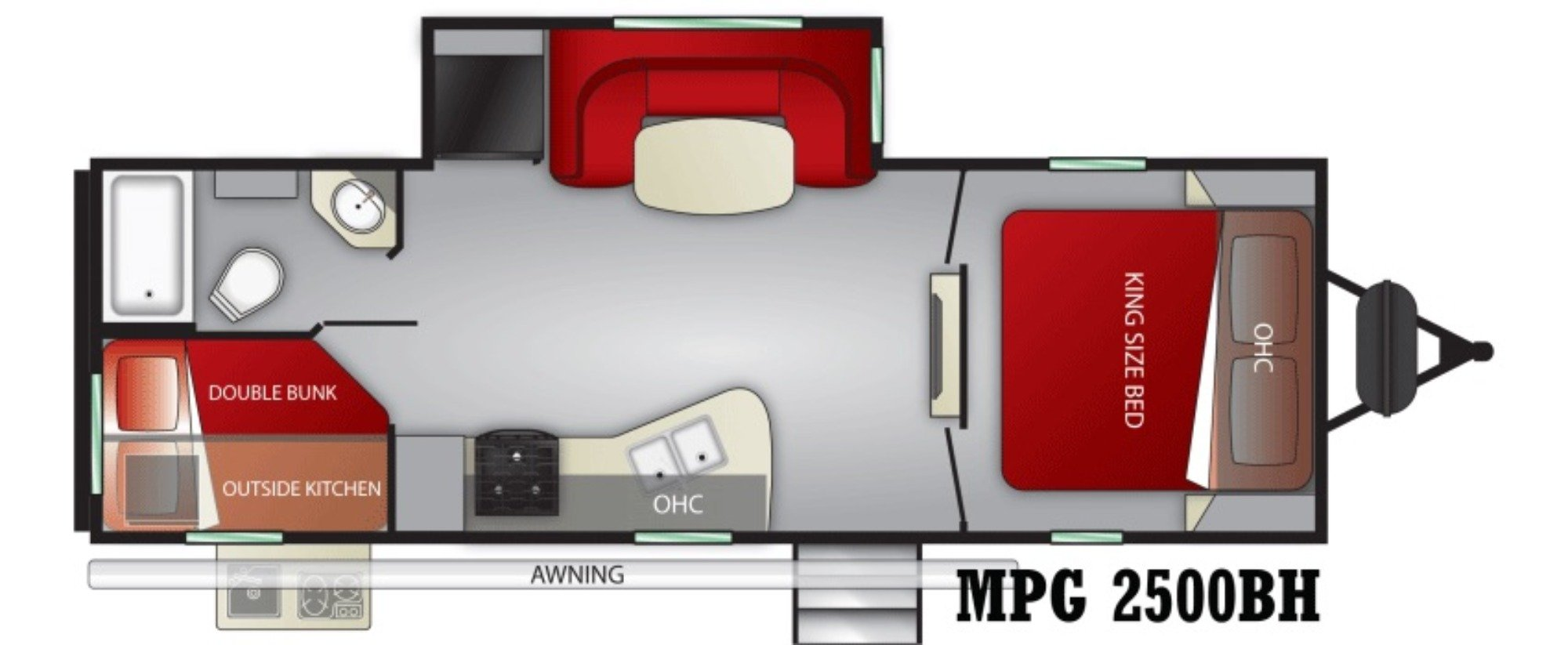 View Floor Plan for 2021 CRUISER RV MPG 2500BH