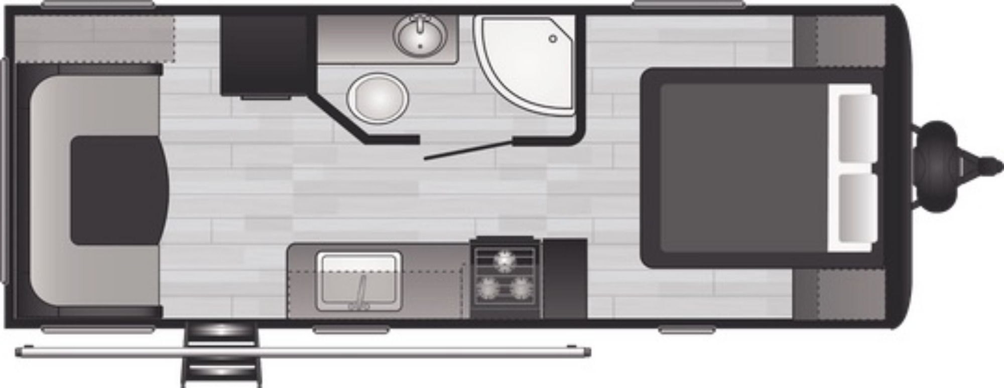 View Floor Plan for 2021 KEYSTONE HIDEOUT 22RDWE