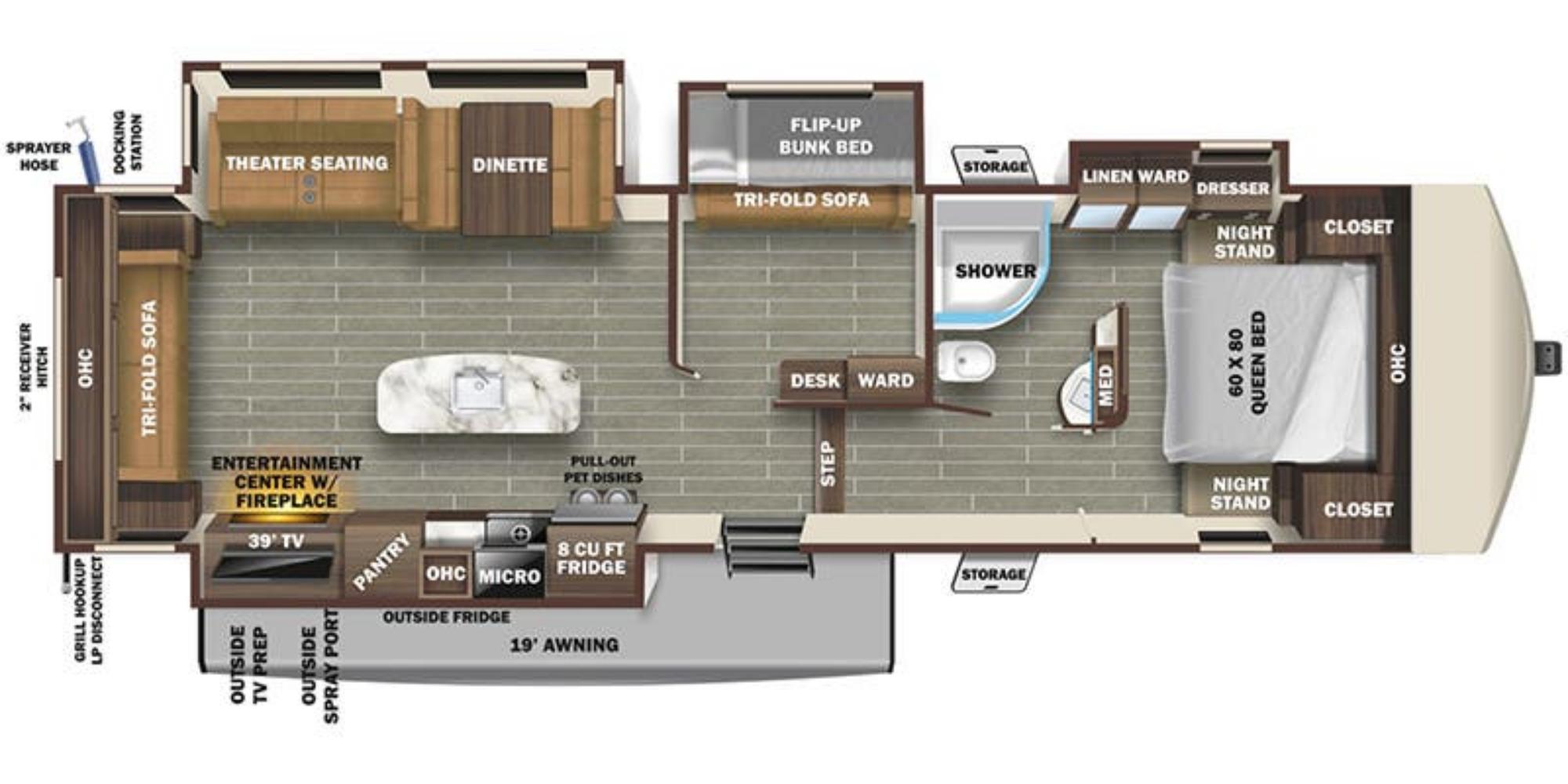 View Floor Plan for 2021 STARCRAFT TELLURIDE 338MBH