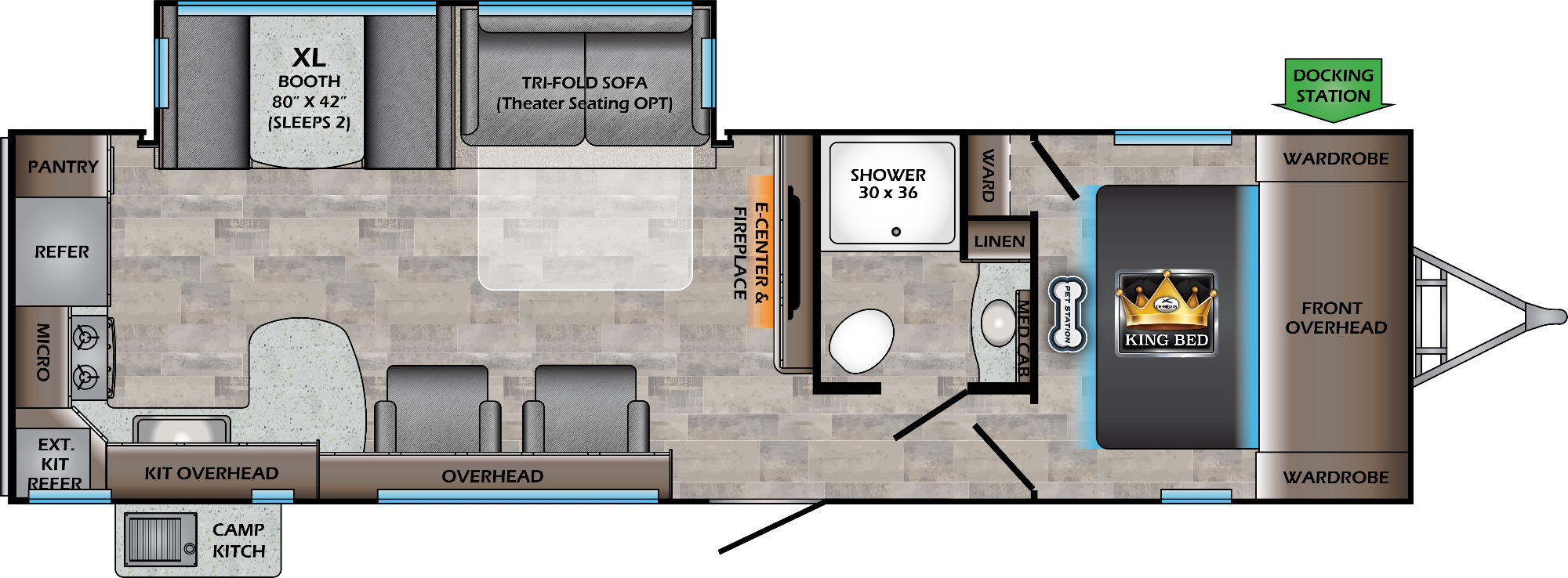 View Floor Plan for 2021 CROSSROADS SUNSET TRAIL 291RK