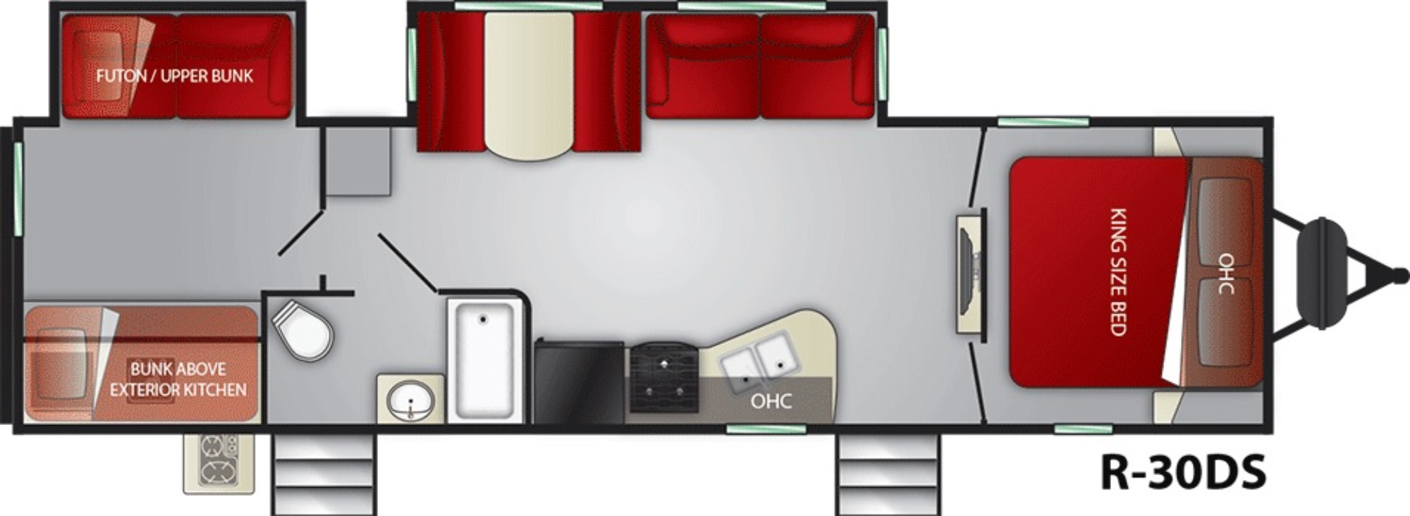 View Floor Plan for 2021 CRUISER RV RADIANCE 30DS