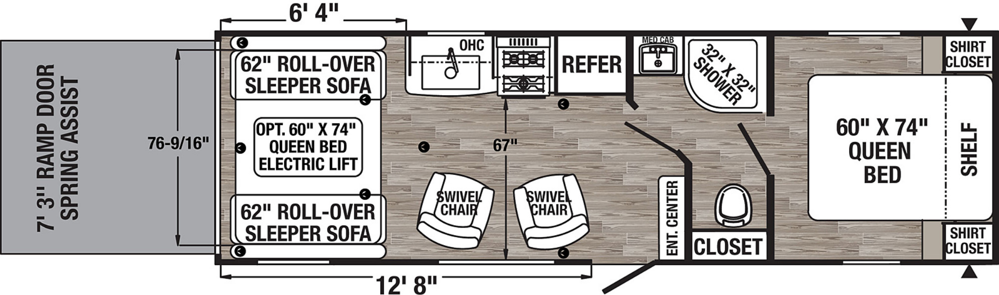 View Floor Plan for 2021 FOREST RIVER PUMA XLE 24FBC