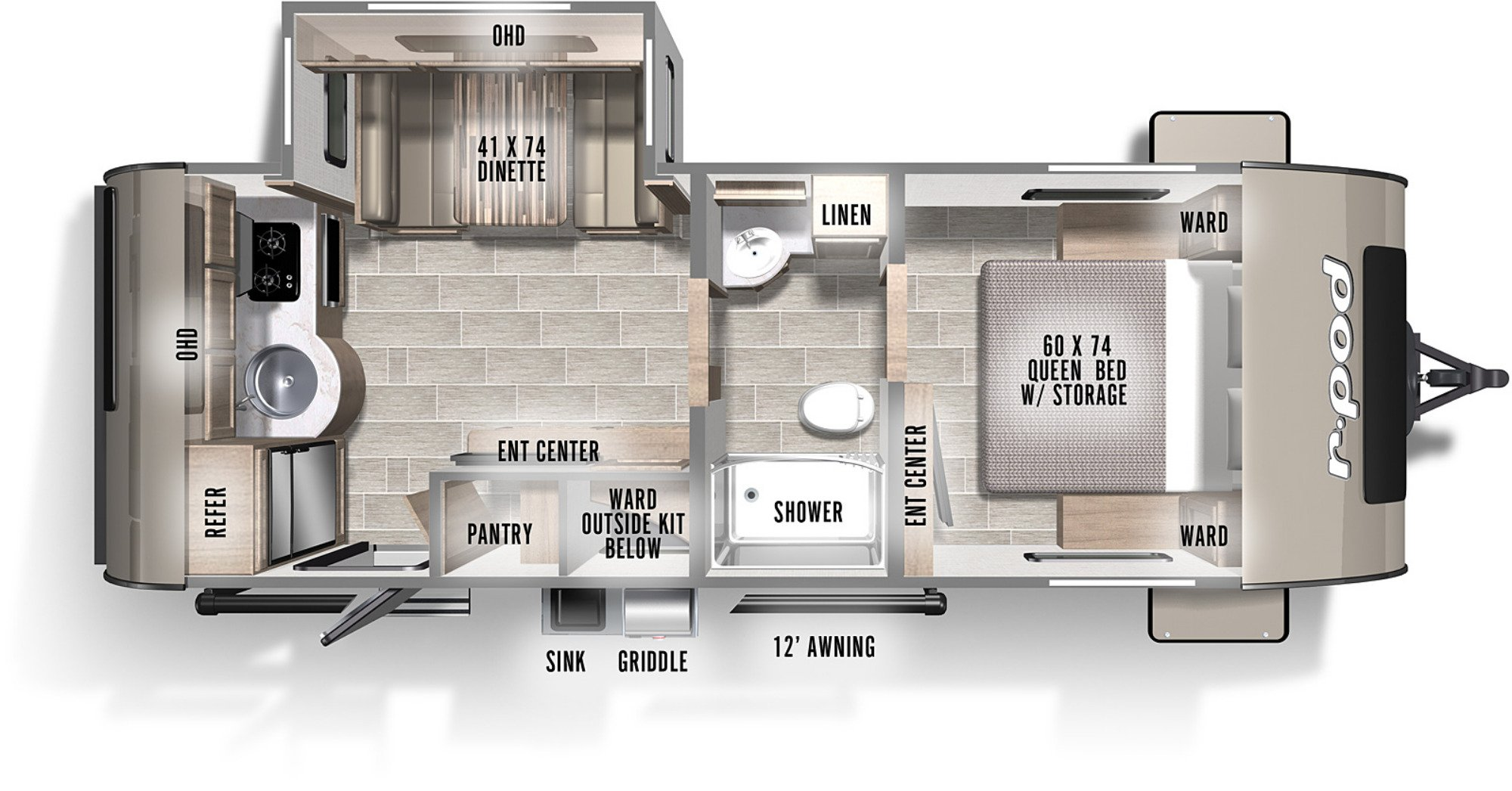View Floor Plan for 2021 FOREST RIVER R-POD 202