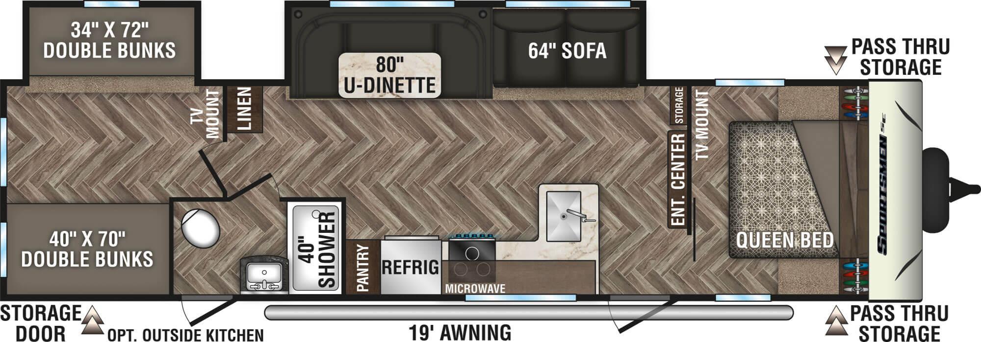 View Floor Plan for 2021 K-Z RV SPORTSMEN SE 312BHSE