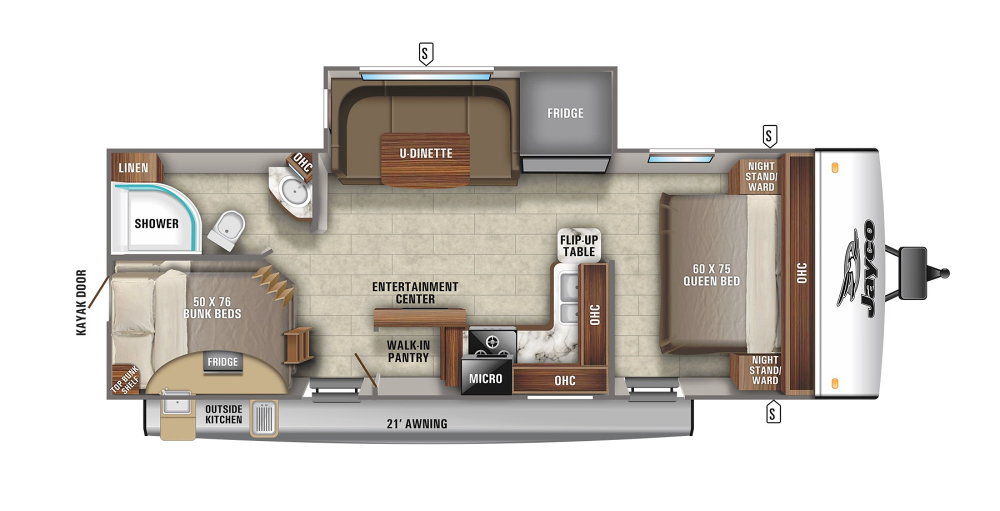 View Floor Plan for 2021 JAYCO JAY FEATHER 24BH